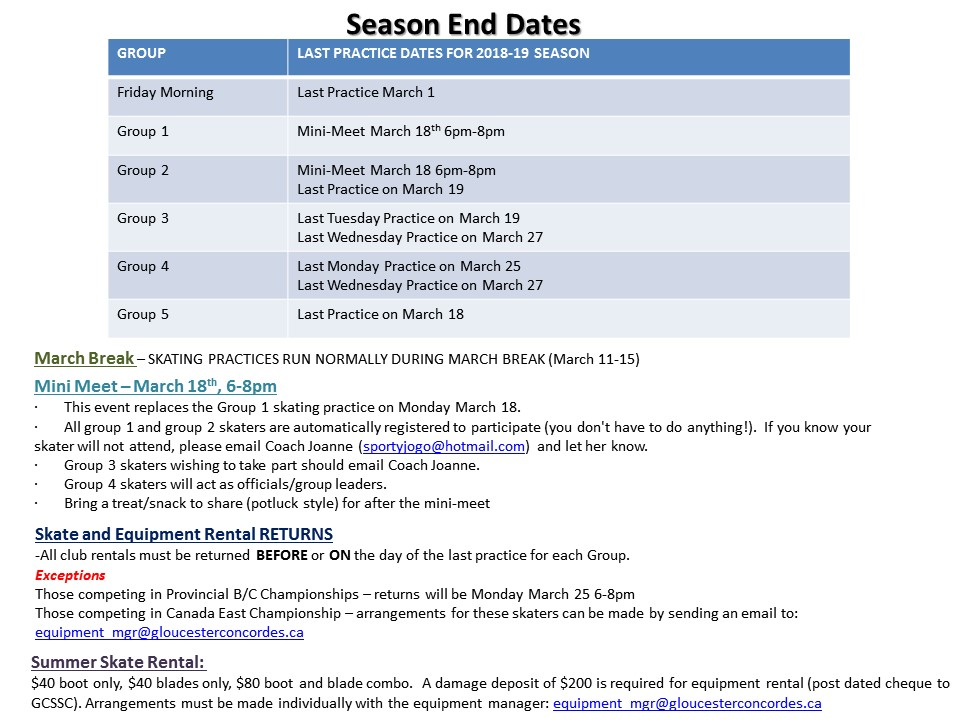 Season End Dates 2018 19