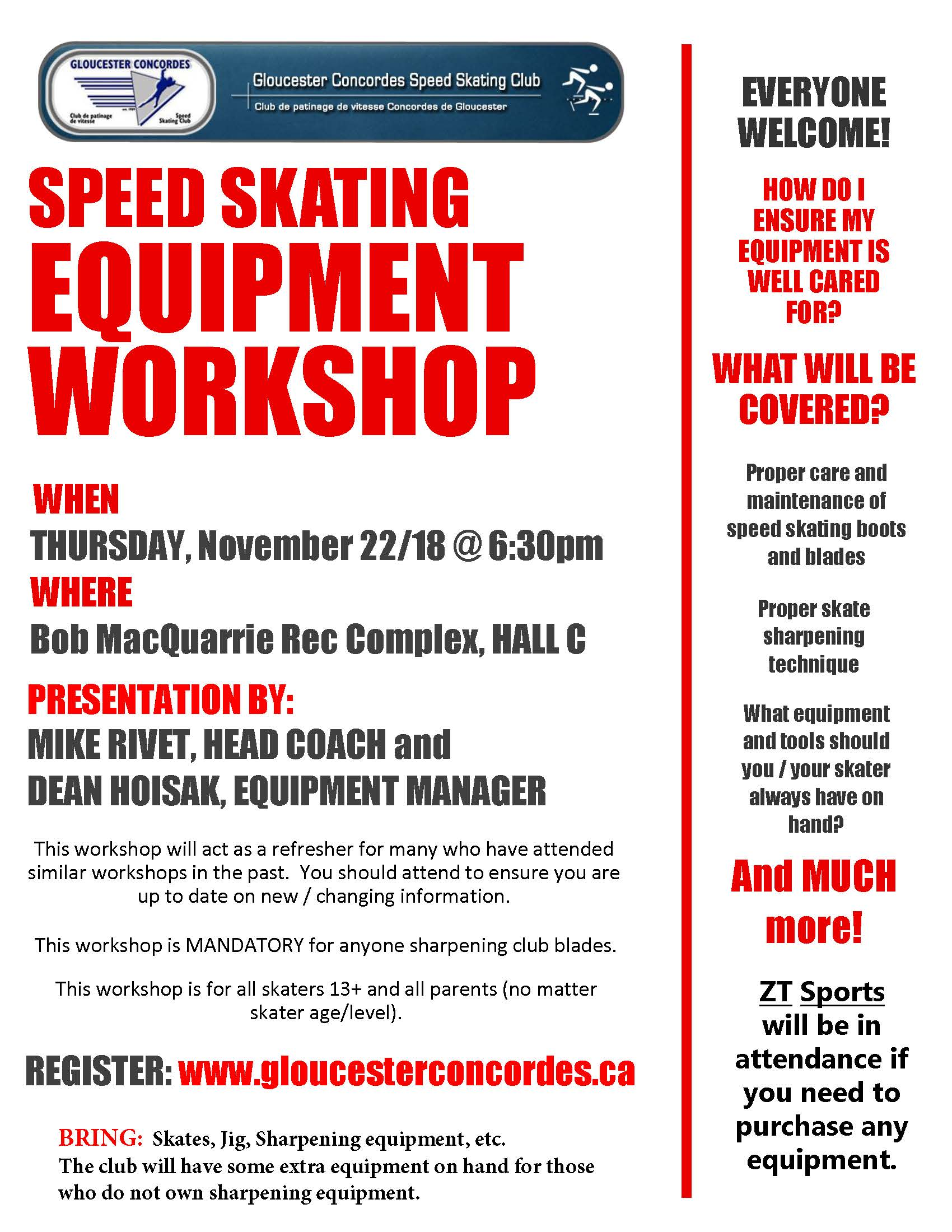 Workshop Speed Skating Equipment and Sharpening